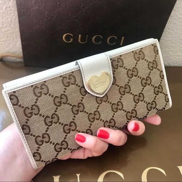 9835b2e68334 Gucci Bags | Gg Monogram Canvas Heart Long Wallet Auth | Poshmark